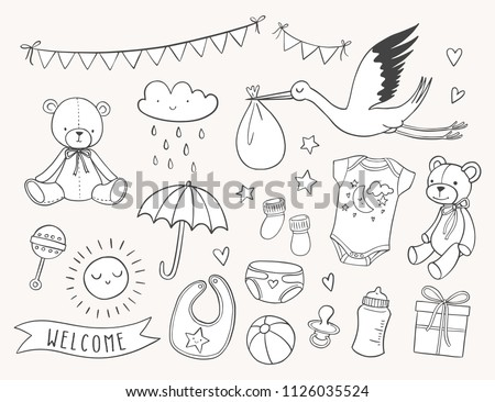 Baby shower hand drawn set. New baby items and icons. Cute doodle illustrations including teddy bear, baby clothes, bib, bottle, cloud, bunting banners, diaper, stork.