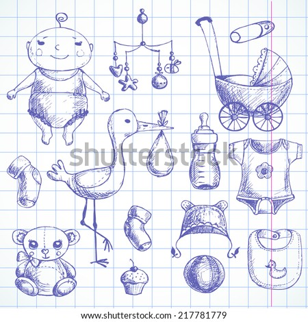 Baby shower Hand drawn sketches