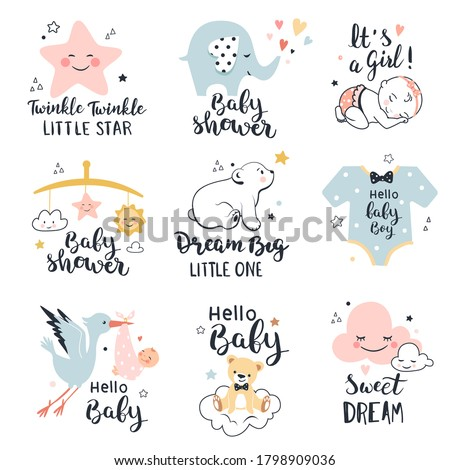 Baby shower, happy birthday greeting and invitation cards. Nursery poster, kids t-shirt print with little bear, elephant and twinkle star. Vector illustration Stock photo ©