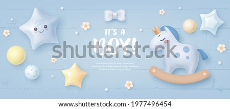 Baby shower horizontal banner with cartoon horse, helium balloons and flowers on blue wooden background. It's a boy. Vector illustration