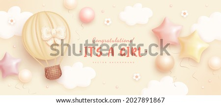 Baby shower horizontal banner with cartoon hot air balloon, helium balloons and flowers on beige background. It's a girl. Vector illustration