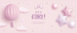 Baby shower horizontal banner with cartoon hot air balloon, helium balloons, clouds and flowers on pink background. It's a girl. Vector illustration