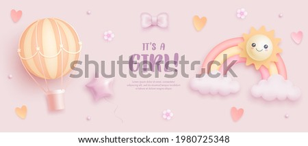 Baby shower horizontal banner with cartoon rainbow, sun, hot air balloon, hearts and flowers on pink background. It's a girl. Vector illustration