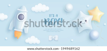 Baby shower horizontal banner with cartoon rocket and helium balloons on blue background. It's a boy. Vector illustration.eps Photo stock ©