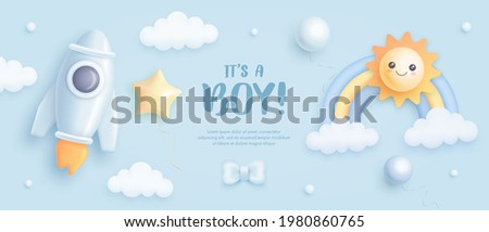 Baby shower horizontal banner with cartoon rocket, rainbow, sun, helium balloons and clouds on blue background. It's a boy. Vector illustration