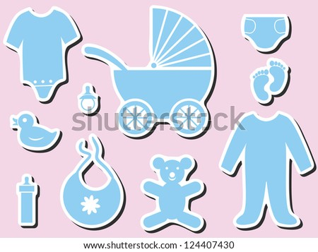 Baby shower icons. It's a boy or girl
