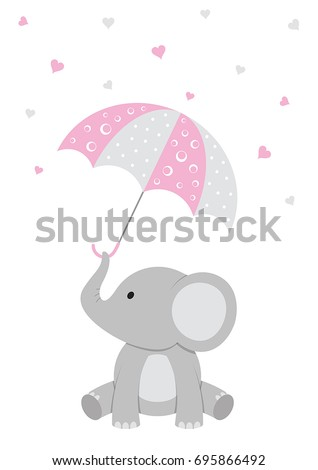 Baby Shower illustration of a baby elephant with a pink umbrella and falling hearts.
