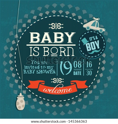 baby shower invitation baby boy is born stock vector illustration