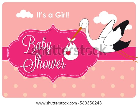 baby shower invitation card a stork is carrying a child in a family