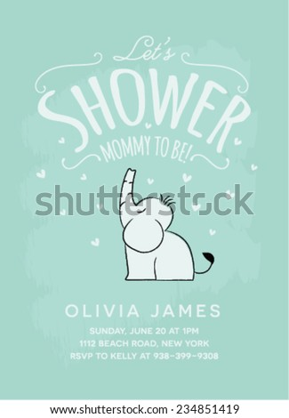 Baby Shower Invitation Card Design with Sitting Elephant. Baby Shower Template Card.