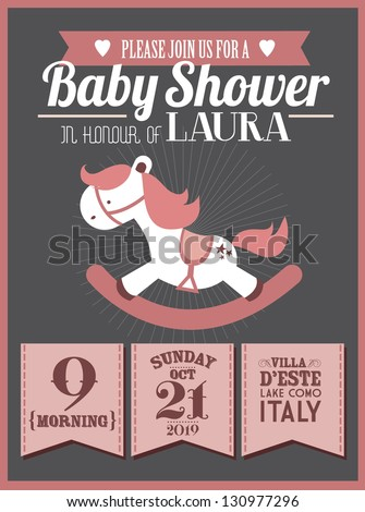 baby shower invitation card template vector/illustration