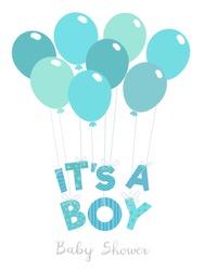 Baby shower invitation for boys. It's a boy vector illustration.
