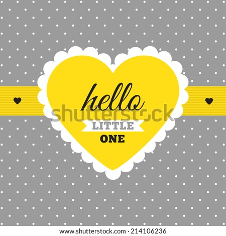 "Baby Shower Invitation ""Gray & Yellow"". Heart Shape Tag On ..."