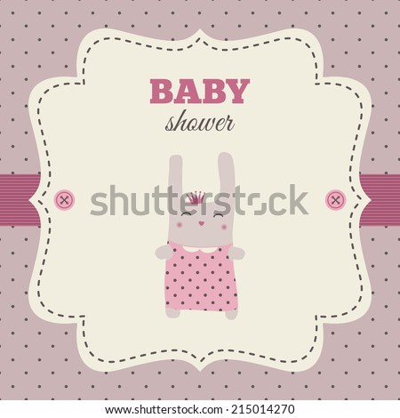Baby shower invitation. Pink and cream colors. Vintage frame with ...