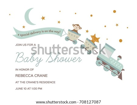 Baby Shower Invitation Template Card With Train And Animal