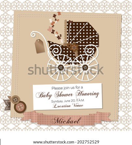 Baby shower invitation template vector illustration
