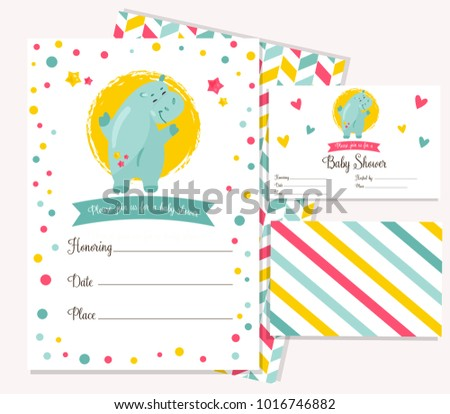Baby shower invitation template with funny cartoon hippo