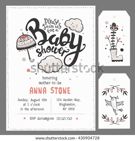 Baby Shower Invitation Template with hand lettering, cute clouds and umbrella - Shutterstock ID 430904728