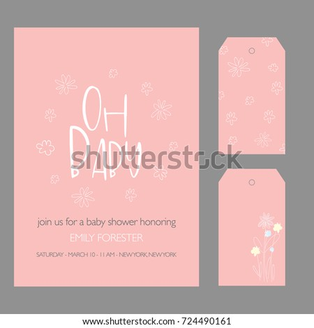 Baby Shower Invitation Template with hand lettering, cute flowers