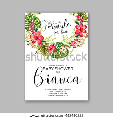 Baby Shower Invitation Template With Watercolor Flower Wreath Ez