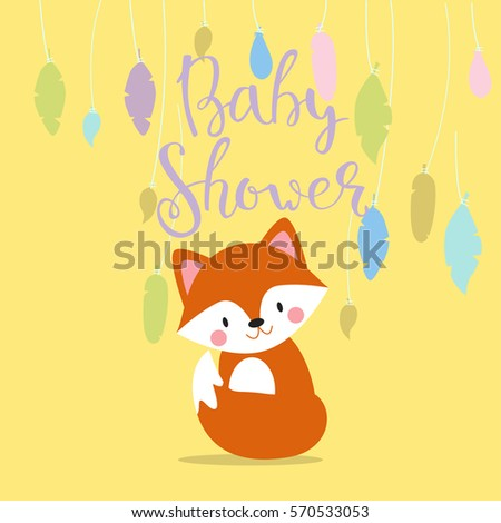 Baby shower invitation vector card. #570533053