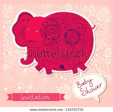 Baby shower invitation with beautiful funny elephant. Baby pattern