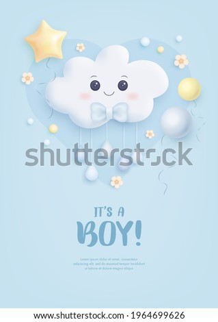 Baby shower invitation with cartoon cloud, helium balloons and flowers on blue background. It's a boy. Vector illustration