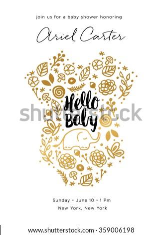 Baby Shower Invite Design. Baby Shower Card. Baby Shower Invite in Gold.