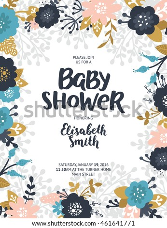 Baby shower invite, vector template. Boho floral card with flowers,  feathers, branches, hand drawn text and gold decorative elements