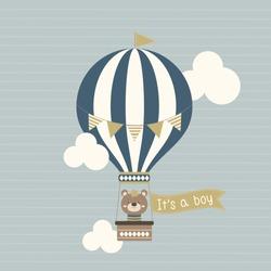 Baby shower it's a boy cute litlle king teddy bear on a hot air balloon