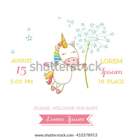 Baby Shower or Arrival Card. Cute Unicorn Girl in vector #410378953