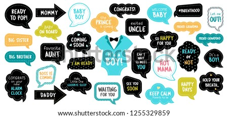 Baby shower photo booth props. Happy birthday party for boy. Blue cards and speech bubbles with funny quotes for new born and parents. Vector photobooth set for pregnancy party.
