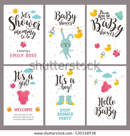 Baby shower posters set. Vector invitation with cute kids illustration. Baby arrival and shower collection with lettering.