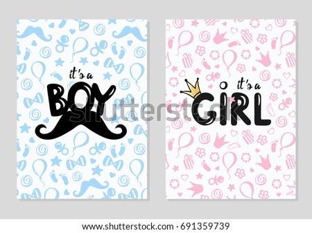 Baby shower posters set. Vector invitation with cute kids pattern. Baby arrival and shower collection with lettering. It's a girl, it's a boy greeting card.