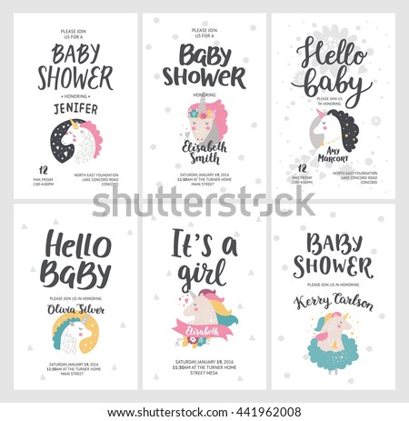 Baby shower posters, vector invites. Cards with cute unicorns and hand drawn font on white background, pastel colors