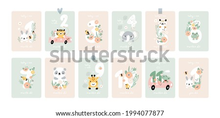 Baby shower print with cute animals, capturing all the special moments. Baby milestone cards with flowers and numbers for newborn girl or boy. 1-11 months and 1 year.  Baby month anniversary card.