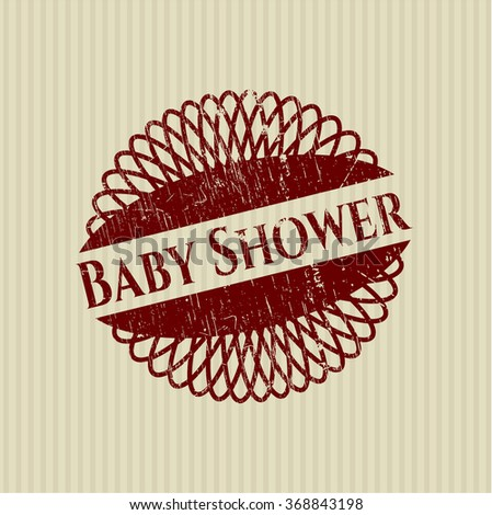 Baby Shower rubber stamp with grunge texture