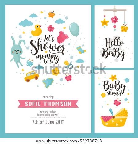 baby shower set invitation