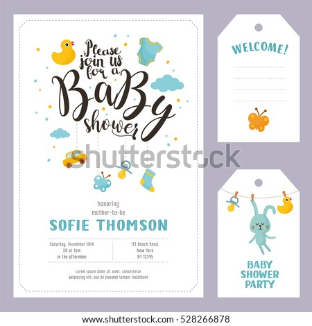 Baby Shower Invitation Card Template Download Free Vector Art - Baby welcome party invitation templates