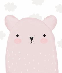 Baby Shower Vector Illustration with Sweet Little Bear. Lovely Pink Baby Bear and Gray Fluffy Clouds on a White Background. Baby Girl Room Decoration. Watercolor Style Nursery Vector Art.