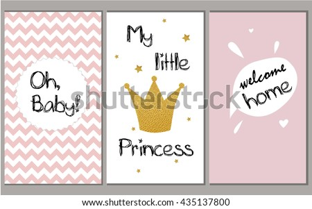 baby shower vector pink set