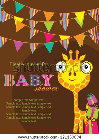 baby shower with cute giraffe. vector illustration - stock vector
