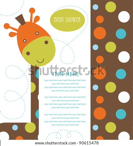 baby shower with cute giraffe. vector illustration