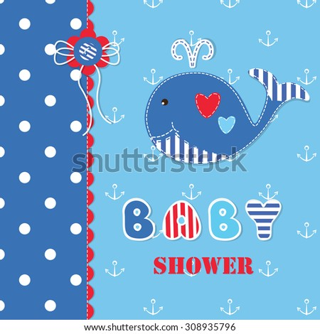 baby shower with cute whale