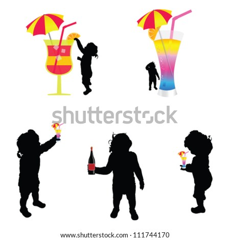baby silhouette with cold drink illustration on white