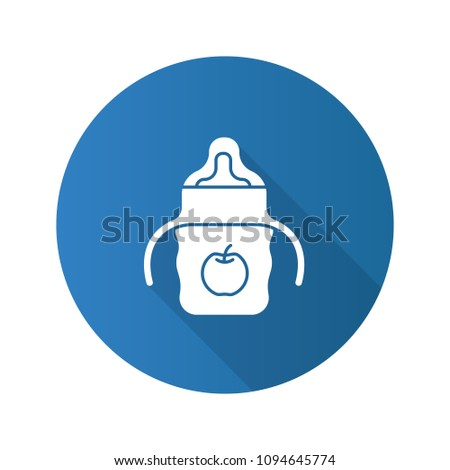 Baby sippy cup flat design long shadow glyph icon. Child feeding bottle. Vector silhouette illustration