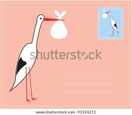 baby stork - stock vector