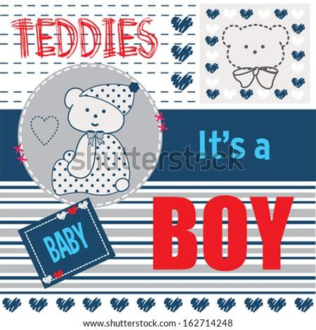 baby teddy boy invitation