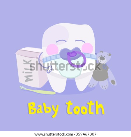 baby tooth vector illustration