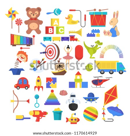 Baby toy set. Cute funny toys for little kid. Bear, car and doll as a gift for child. Isolated vector illustration in cartoon style.